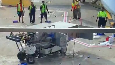 Catering cart loses control at Chicago O'Hare Airport