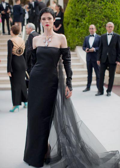 Coco Rochas in Jean Paul Gaultier at the amfAR Gala, Cannes 2017