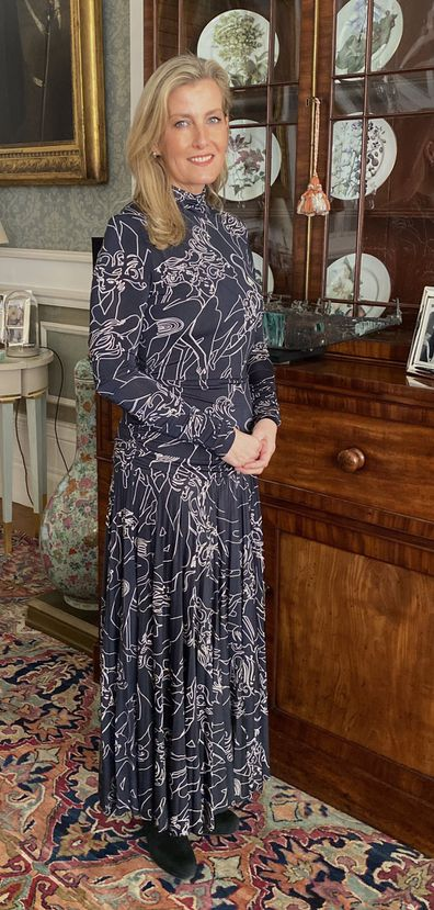 Sophie, Countess of Wessex wears a printed Victoria Beckham dress for video chat with British Fashion Council during London Fashion Week