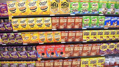 Cereal on the supermarket shelves.
