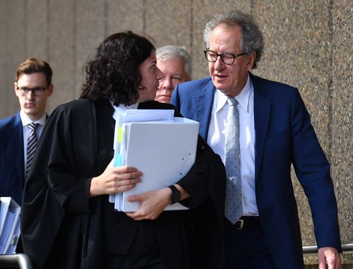 Geoffrey Rush dabbed away tears at court today, as he described imagining his daughter had died to act out a scene in King Lear.