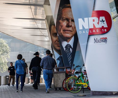 At the NRA convention yesterday in Dallas, Mr Trump said Britain has tough gun laws but that one London hospital is awash with blood because of knife wounds. (EPA)