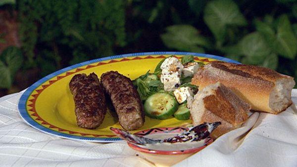Macedonian chevapi and garlic dip