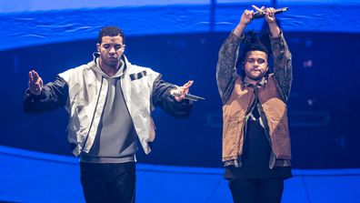 "Drake and The Weeknd performs on stage during a date of his ""Nothing Was the Same"" 2014 World Tour at Nottingham Capital FM Arena on March 16, 2014 in Nottingham, England"
