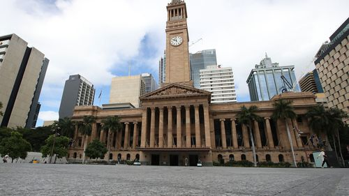 An empty King George Square is seen on March 28, 2020 in Brisbane.