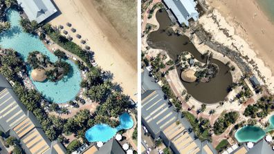 <p>BEFORE and AFTER: Swimming pools at the Whitsundays tourist hotspot of Hamilton Island, which copped the brunt of Cyclone Debbie as the Category 4 system approached the Queensland coast on Tuesday, March 28.&nbsp;</p> <p>(Nearmap.com.au)</p> <div>&nbsp;</div>