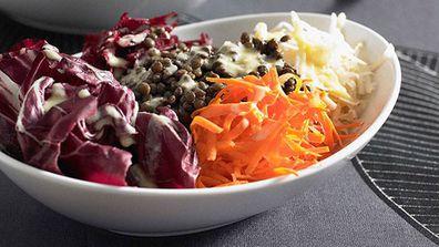 Lentil and root vegetable salad