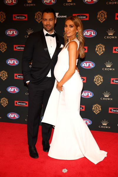 Fashion blogger Nadia Bartel with husband, Geelong's Jimmy Bartel, on the 2018 Brownlow red carpet