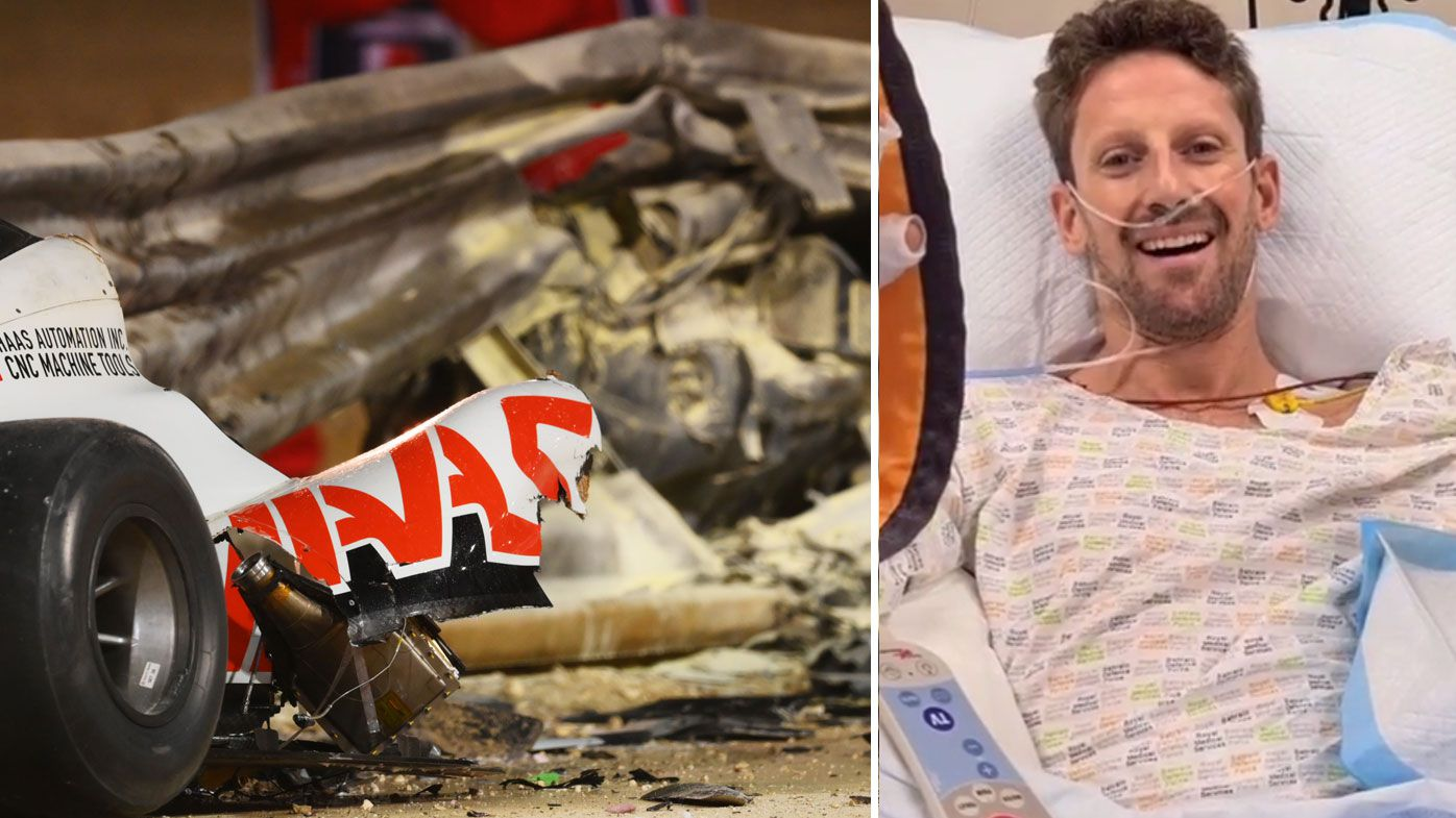 Romaine Grosjean was fortunate to escape with minor burns after his horror F1 crash at the Bahrain GP. (Getty)