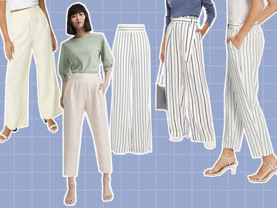 She wears the (light, floaty, pinstriped) pants