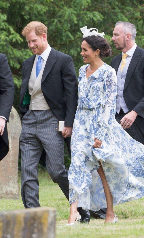 Meghan wears Oscar de la Renta frock to wedding of Harry's cousin. Picture: Splash