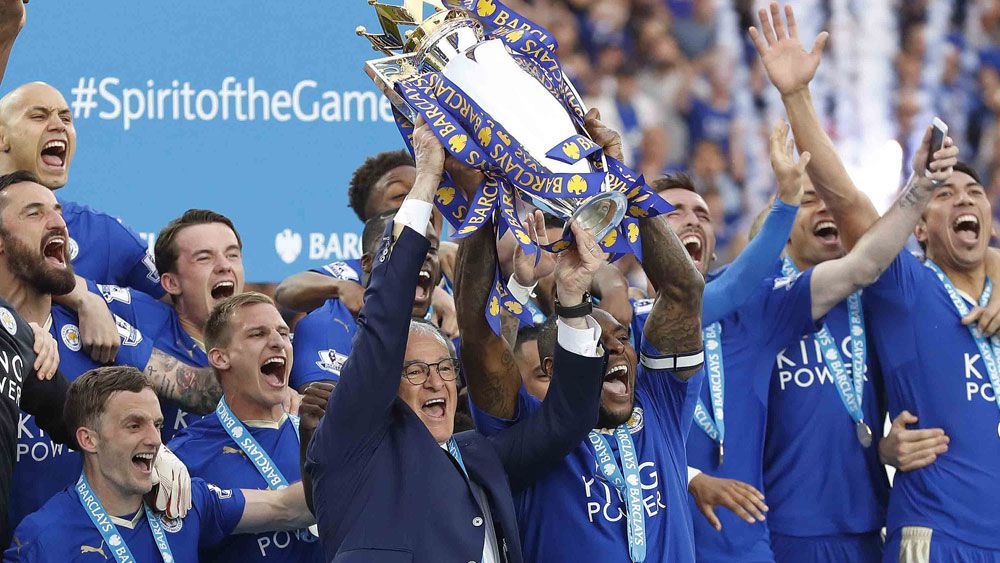 Leicester City celebrate their title win (AAP)