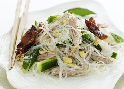 Barbecued duck, herb and noodle salad