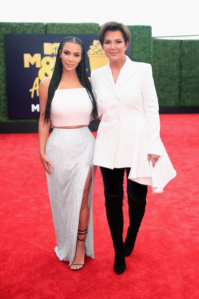 Kim Kardashian West, in Versace, and Kris Jenner at the 2018 MTV Movie and TV Awards