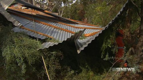 Winds reached 105km/h in the Adelaide Hills.