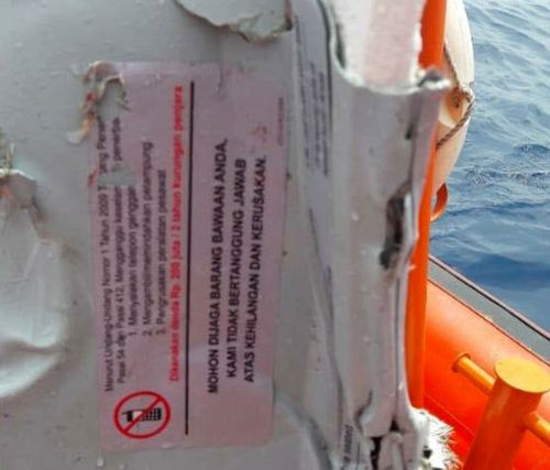 Recovered debris from Lion Air flight JT610 that crashed into the sea shortly after take-off.