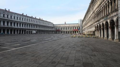 A completely empty San Marco Square in Venice on Monday, after Italy enforced travel restrictions to try to contain the worst outbreak in Europe.