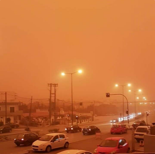 The Mediterranean was also clouded with orange dust last week, blown in from the Sahara desert. (Twitter/ severe-weather.EU)