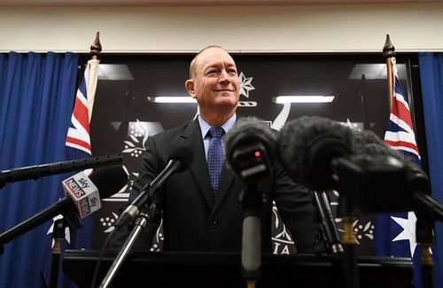 Senator Fraser Anning speaks during a press conference in Brisbane, today after being widely criticised for posting an anti-muslim statement in regards to the New Zealand mosque attacks. (AAP Image/Dan Peled)
