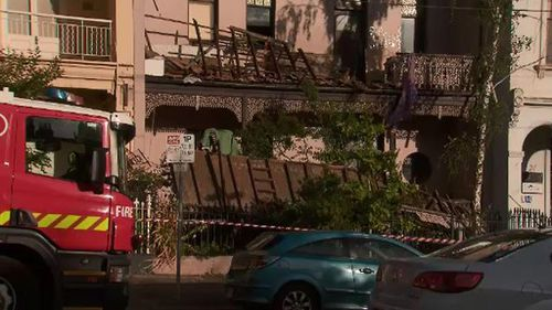 The balcony collapsed from the second floor of a home in Carlton. (9NEWS)