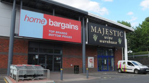 The Home Bargains store in Worcester, central England, where the boy had acid thrown over him.