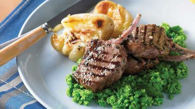 Barbecued lamb cutlets with minted pea mash and lemon potatoes