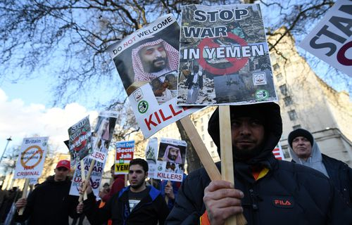 Protesters in London call for an end to the war in Yemen.
