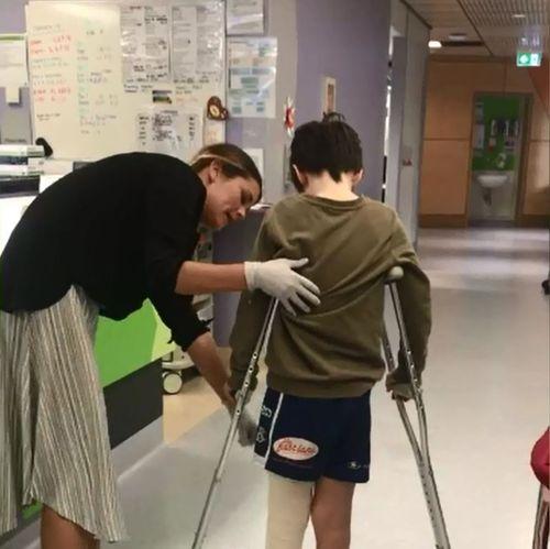 Jett has had to train to walk again.