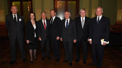 Fraser also spoke out against US military bases on Australian soil. Former Prime Ministers of Australia (L-R), Malcolm Fraser, Julia Gillard, Bob Hawke, Prime Minister Tony Abbott, John Howard, Kevin Rudd and Paul Keating assemble for a photograh at the completion of the memorial service for former Prime Minister, Gough Whitlam, at the Town Hall in Sydney on Wednesday, Nov. 5, 2014. (AAP)