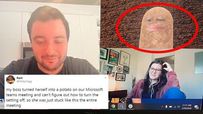 A boss turned herself into a potato while working from home on a video chat.