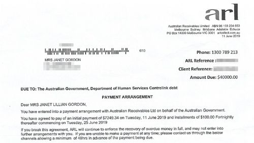 Ms Gordon agreed to go on a repayment plan with ARL.