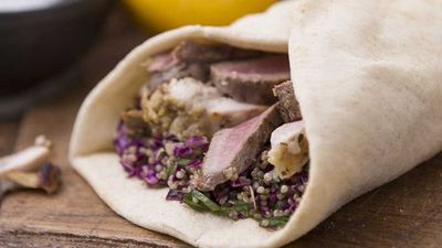 "<a href=""http://kitchen.nine.com.au/2016/10/13/12/27/lamb-and-chicken-souvlaki-with-garlic-garnished-hommus-and-quinoa-and-red-cabbage-tabbouleh"" target=""_top"">Manu Feildel's lamb and chicken souvlaki with garlic garnished hommus and quinoa and red cabbage tabbouleh</a>"