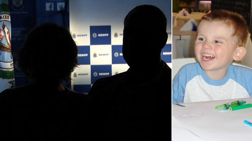 William Tyrrell's parents pictured in a NSW Police interview, and inset, the missing toddler. (Supplied)