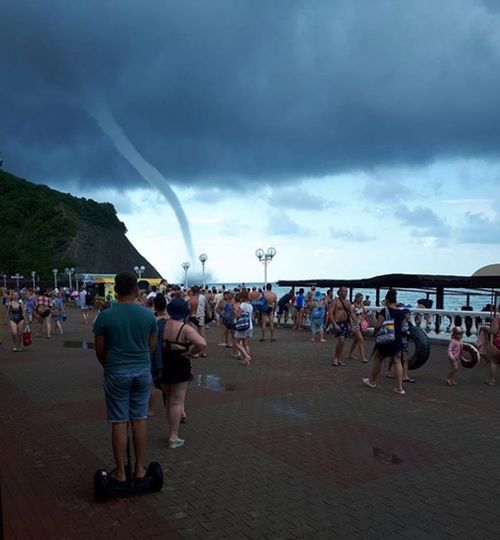 """""""Fair weather"""" waterspouts are whirling columns of air and water that tend to remain in one spot, unlike """"tornadic"""" waterspouts. Picture: Instagram/kirdeevaolga"""