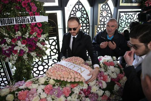 Murat Gezer has paid tribute to his bride-to-be Mina Basaran at her funeral in Istanbul after the Iran private plane crash. (Getty)