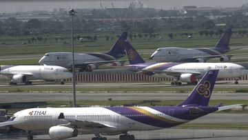 A file photo of Thai Airways planes on the tarmac at Suvarnabhumi Airport in Bangkok, Thailand.