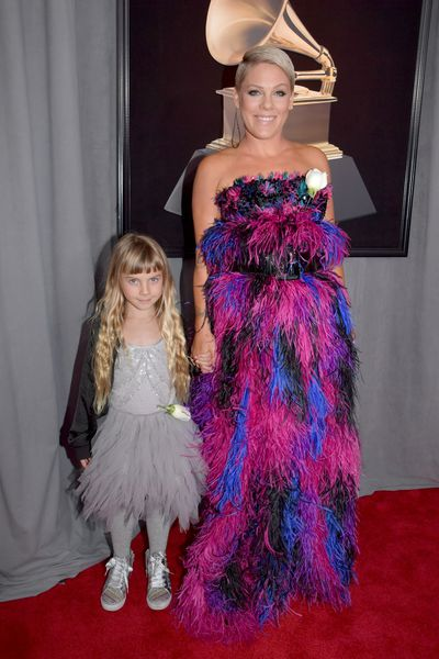 Singer Pink and daughterWillow Sage Hart. Pink is wearing Armani Privé Fall 2015 Couture