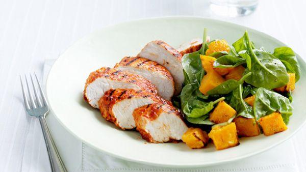Paprika chicken with pumpkin & spinach salad