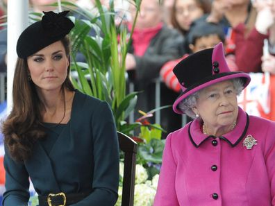 The Duchess of Cambridge sits with the Queen