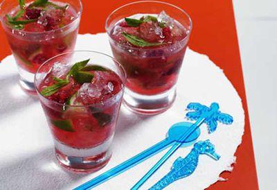 Raspberry mint mojito