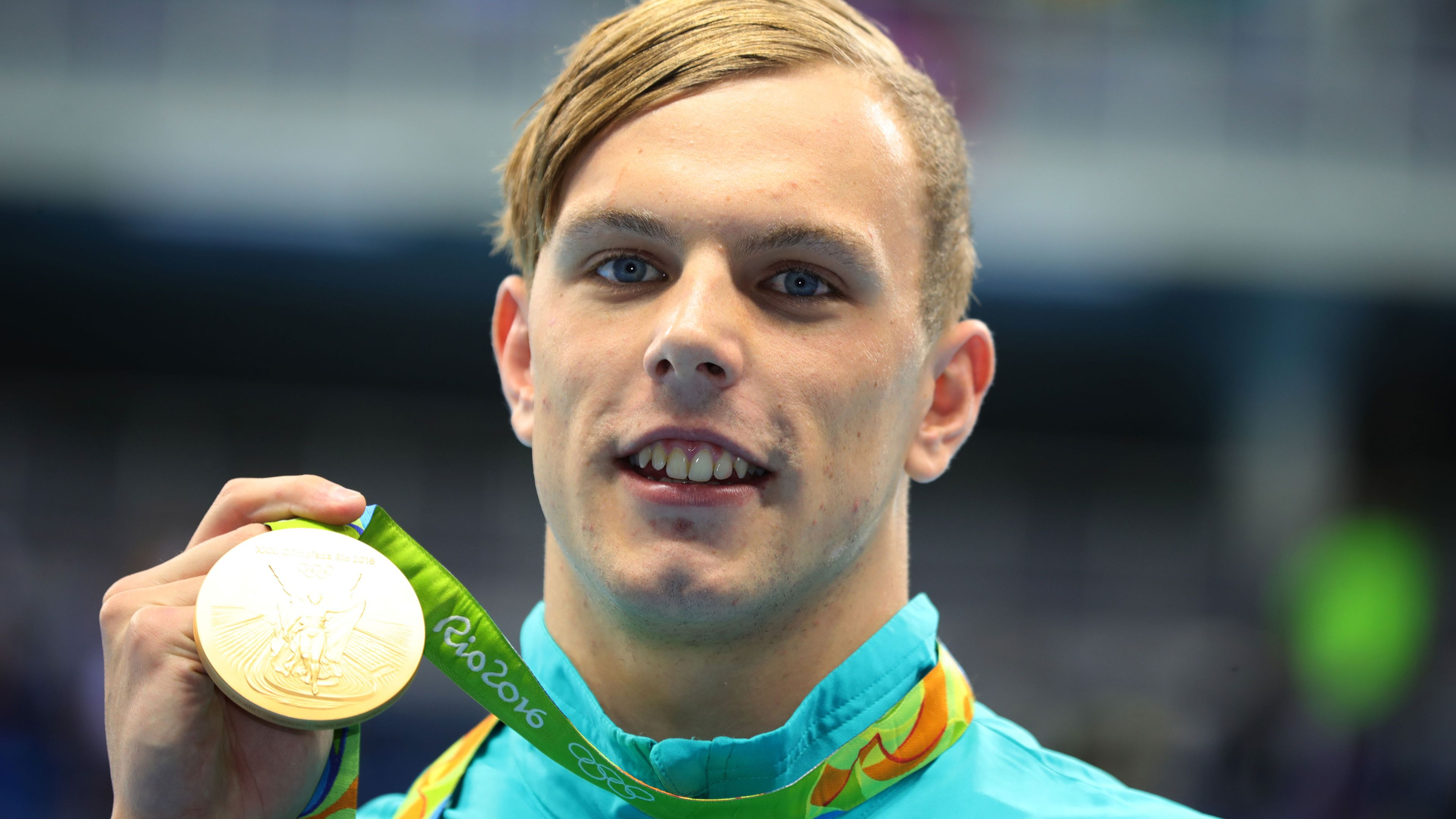 Kyle Chalmers after winning gold in the 100m freestyle at the Rio Olympics.
