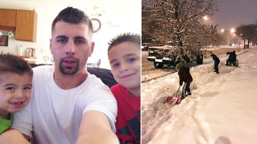 Kids ask father to stop the car so they can help wheelchair-user shovel snow