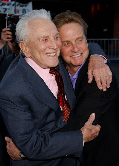 "Kirk Douglas & Michael Douglas during ""It Runs In The Family"" Premiere at Mann Bruin Theatre in Westwood, California, United States in 2003."