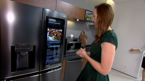 The smart fridge can offer recipe suggestions and order groceries.