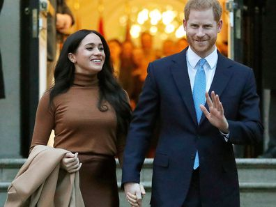 Prince Harry and Meghan, the Duke and Duchess of Sussex, leave after visiting Canada House on Jan. 7, 2020, in London