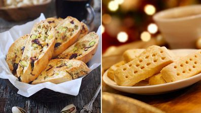 Biscotti biscuits and Shortbread Christmas biscuits