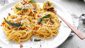 Creamy pumpkin carbonara with pancetta and crispy sage recipe