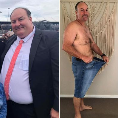 Man's before and after weight loss