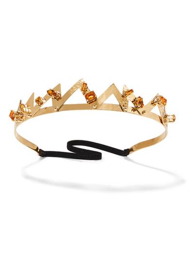 "<a href=""https://www.net-a-porter.com/au/en/product/690872/miu_miu/gold-plated-topaz-headband?cm_mmc=LinkshareUK-_-TnL5HPStwNw-_-Custom-_-LinkBuilder&amp;siteID=TnL5HPStwNw-kTnSk5nBG38qUc5l4l8M9g"" target=""_blank"">Miu Miu</a> gold-plated topaz headband, $830."