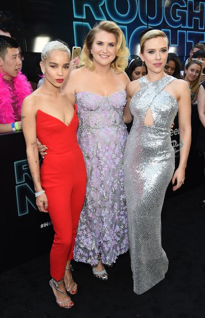 Zoe Kravitz in Oscar de la Renta, Jillian Bell in Marchesa and Scarlett Johansson in Michael Kors&nbsp;at the premiere of <em>Rough Night </em>in New York.